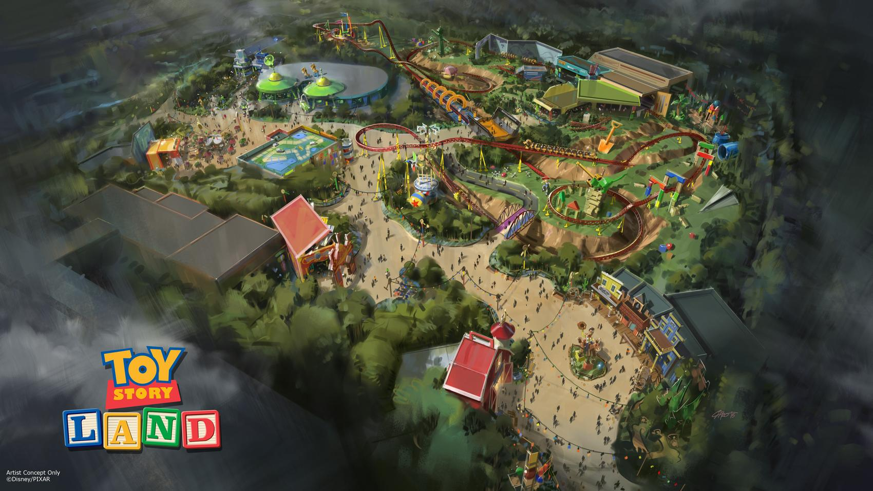 Toy Story Land at DisneyÕs Hollywood Studios in Florida -- The reimagining of Disney's Hollywood Studios will take guests to infinity and beyond, allowing them to step into the worlds of their favorite films, starting with Toy Story Land. This new 11-acre land will transport guests into the adventurous outdoors of Andy's backyard. Guests will think they've been shrunk to the size of Woody and Buzz as they are surrounded by oversized toys that Andy has assembled using his vivid imagination.  Using toys like building blocks, plastic buckets and shovels, and game board pieces, Andy has designed the perfect setting for this land, which will include two new attractions for any Disney park and one expanded favorite. (Disney Parks)
